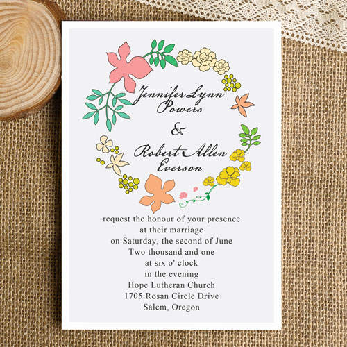 Chic Rustic Floral Wedding Invitation Cards