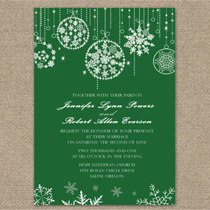 christmas inspired green holiday wedding invitations