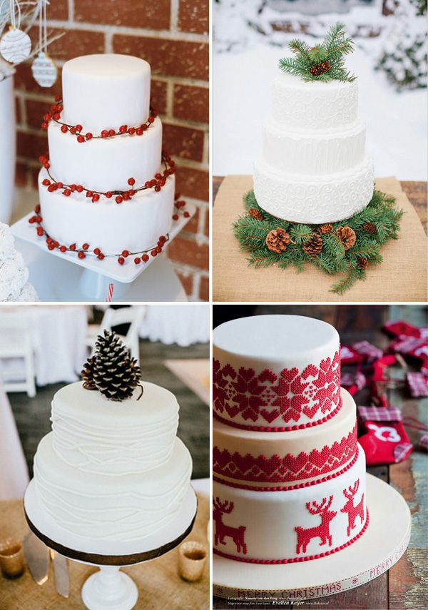 christmas inspired wedding cakes red and green pinecone for winter wedding ideas
