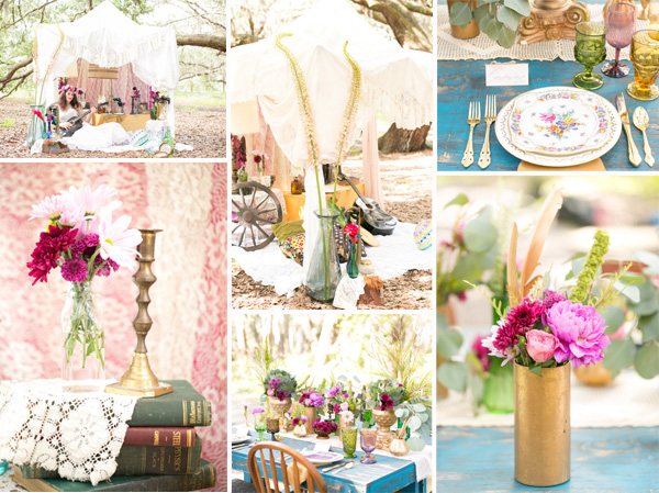 gold and pink vintage boho theme wedding decoration ideas