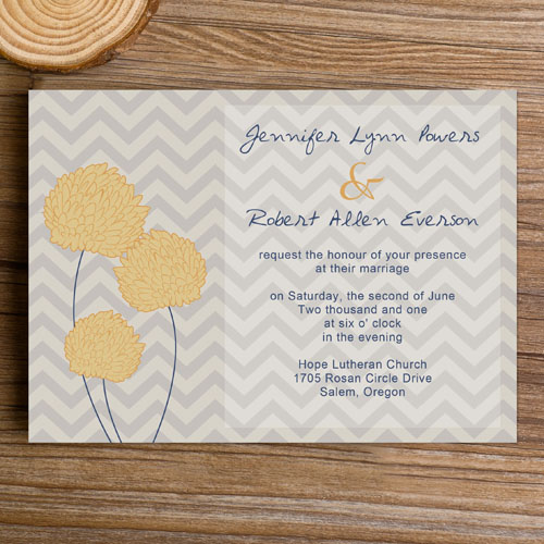 Dusty Blue Chevron Invitations