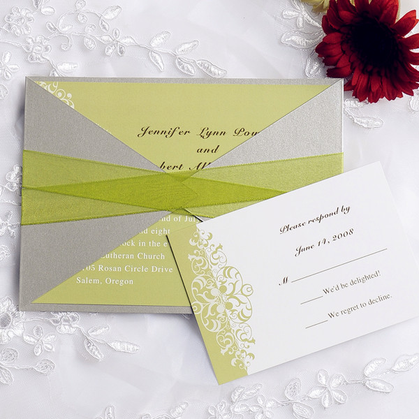 simple and elegant mint green pocket wedding invitations