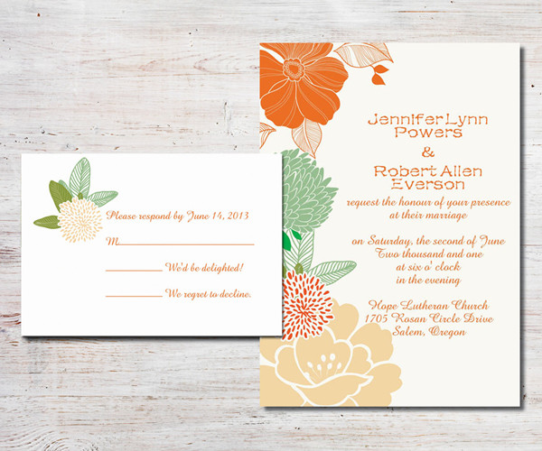 orange and green boho theme floral wedding invitations
