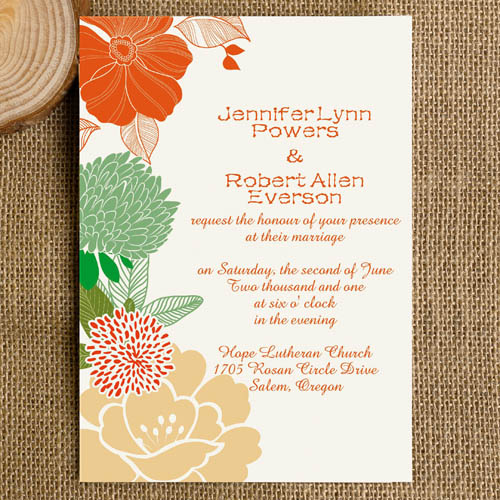 Coral And Green Wedding Invitations