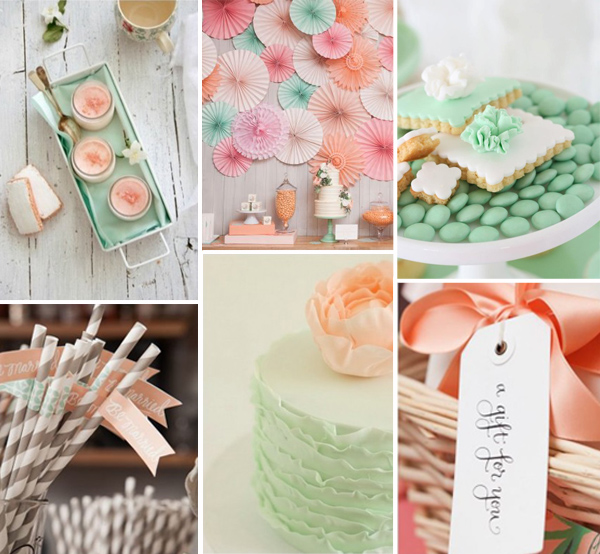 peach and mint bridal shower theme ideas 2014