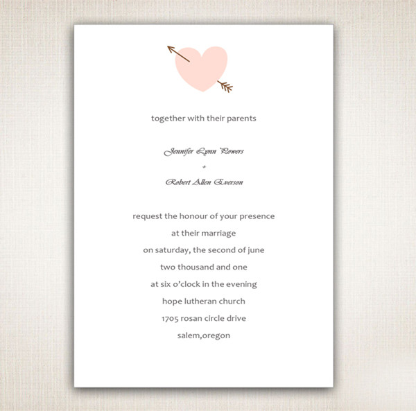 pink and brown valentine's day theme heart wedding invitations