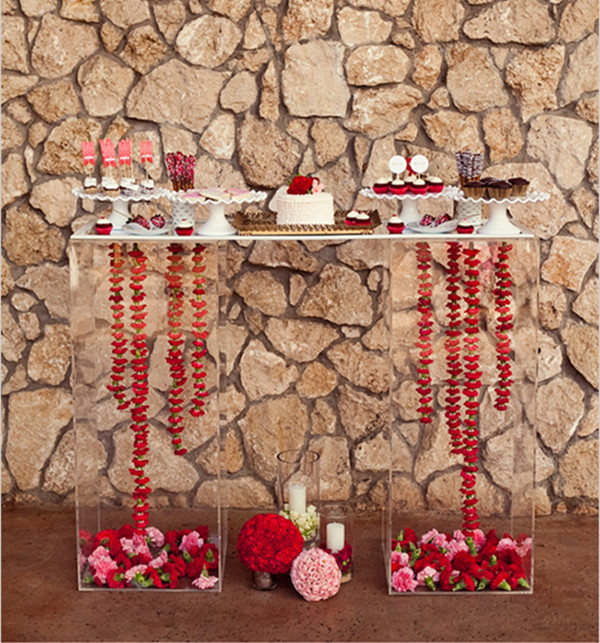 pink and red dessert table for valentines day wedding ideas