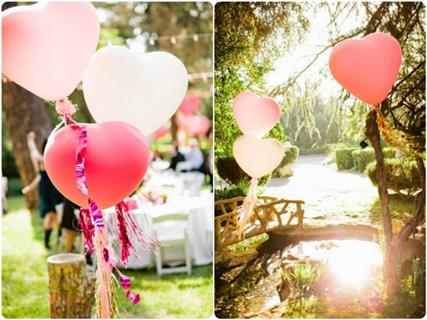 pink ballons for outdoor wedding ideas inspired by Valentine's Day