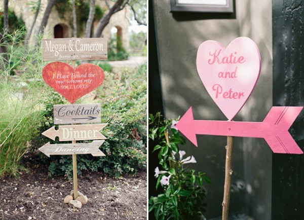 pink country rustic valentines day outdoor wedding signs