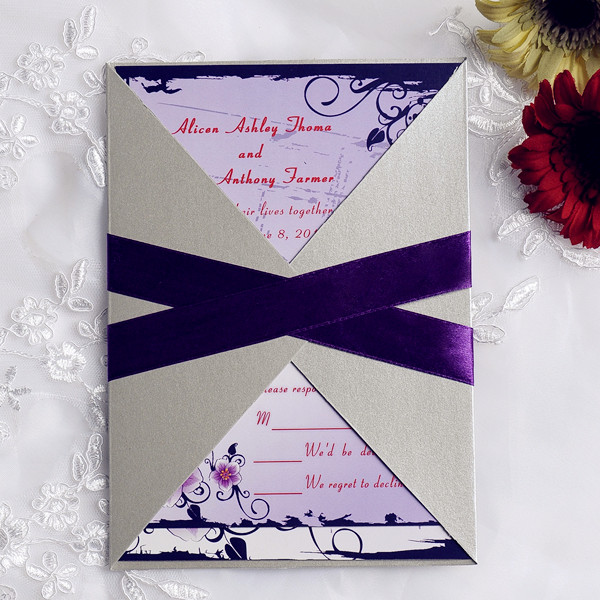 2014 purple and gray country rustic pocket wedding invites