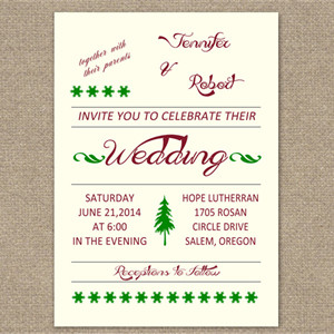red and green christmas inspired wedding invitation cards EWI303