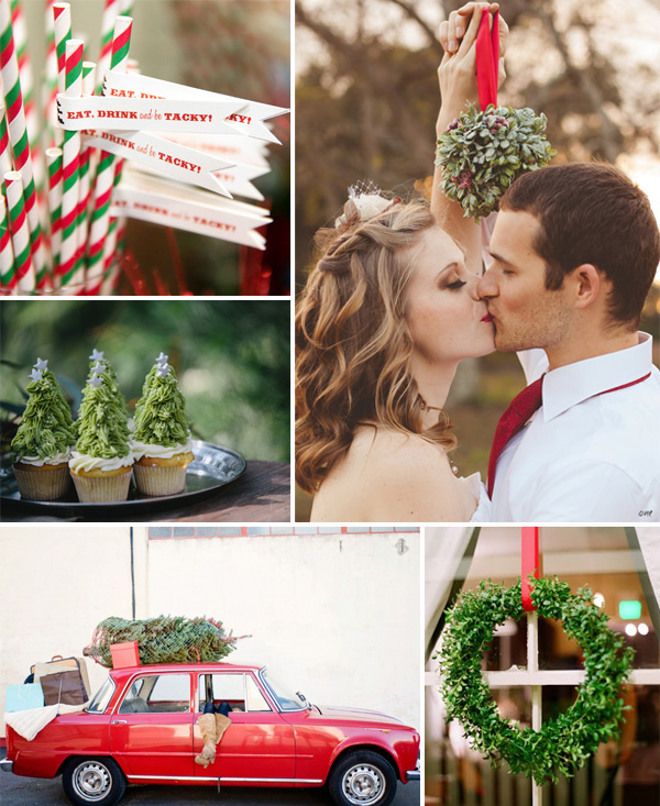 red and green christmas inspired winter wedding ideas