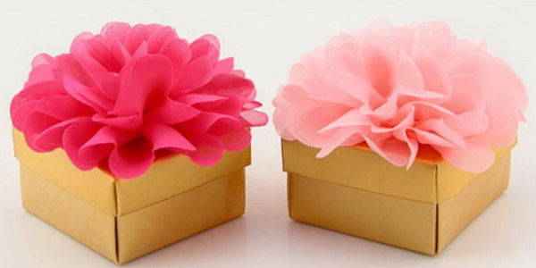 rose pink wedding favor box floral boho wedding