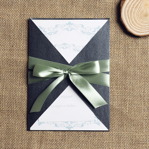Sage Ribbon Pocket Invitations