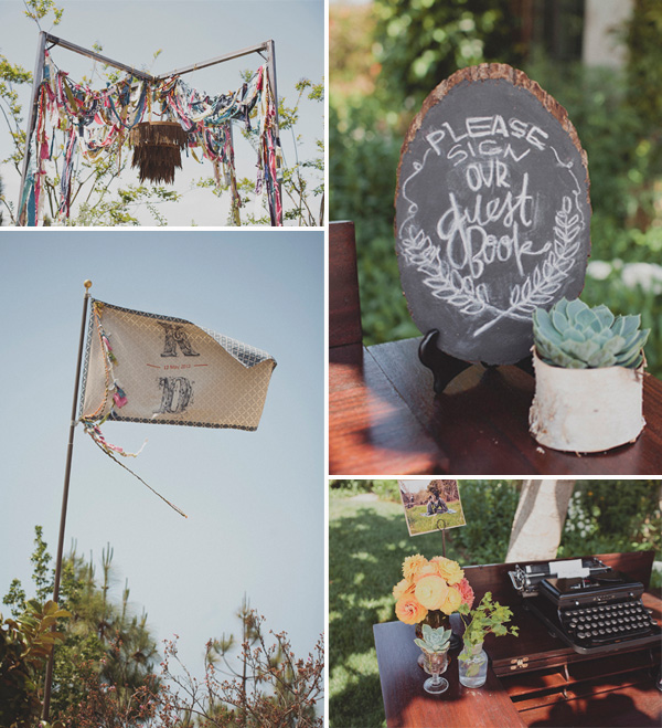 shabby chic boho theme backyard wedding decoration ideas