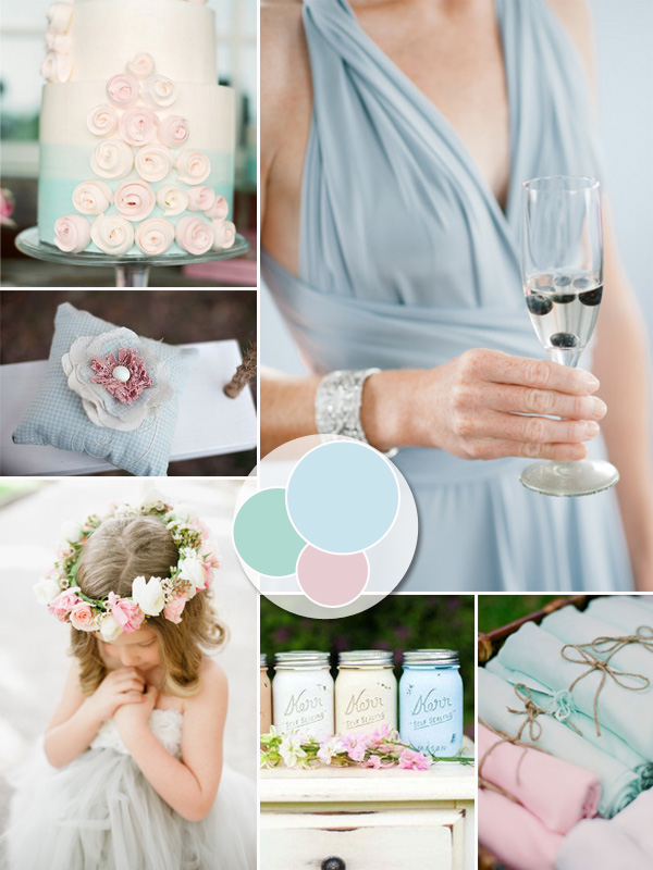 2014 trending powder blue and blush pastel wedding color ideas