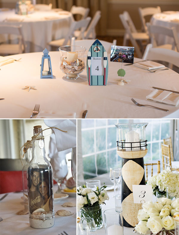 beach and nautical theme wedding centerpieces decoration ideas