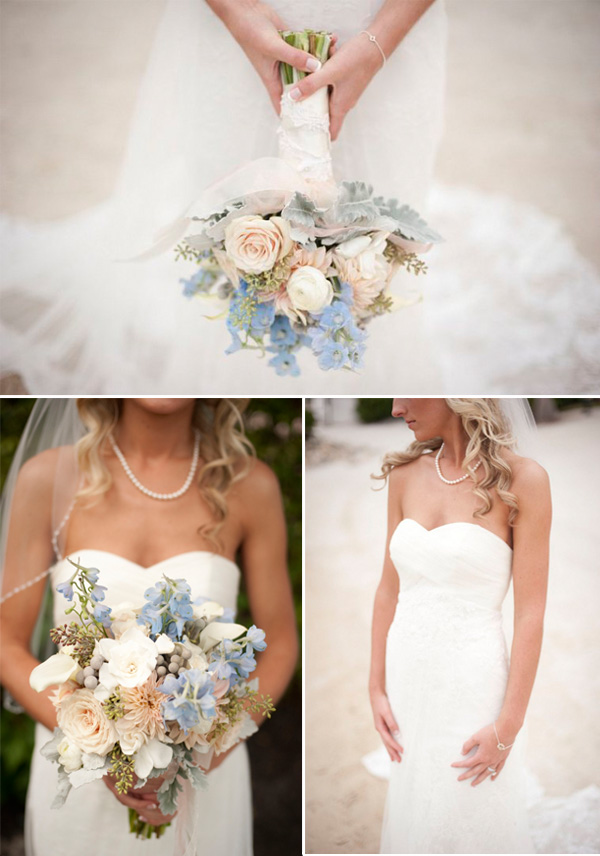 beach chic light blue wedding bouquet for summer 2014