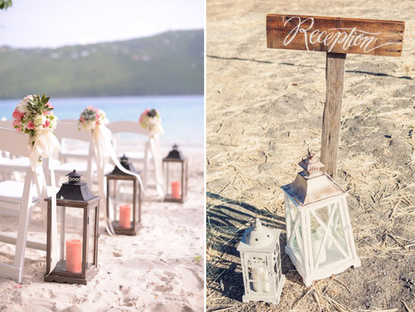 beach wedding aisle and reception decoration ideas with lanterns