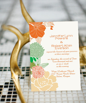 boho theme wedding inspired peach floral wedding invitations