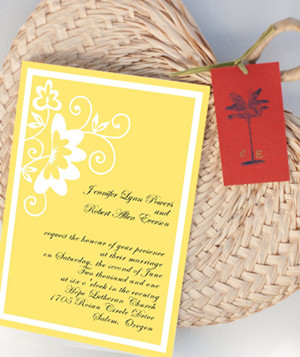 country rustic yellow pastel wedding invitations
