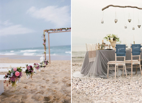 elegant beach theme wedding ceremony and reception ideas 2014