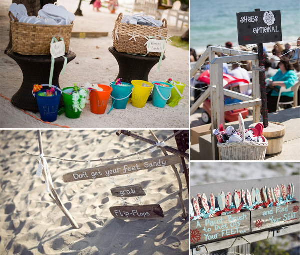 guests shoes and brush for beach theme wedding ideas