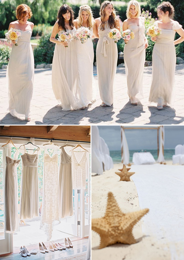 ivory cream long bridesmaid dresses for beach theme weddings 2014