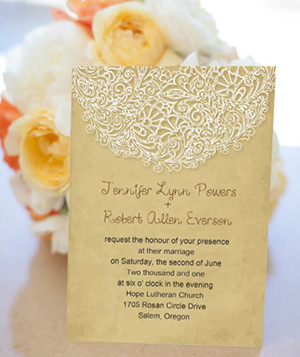 lace printed  yellow vintage wedding invitations 2014