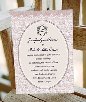 lavender pastel lace printed vintage wedding invitations