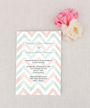 mint and blush chevron wedding invitations 2014