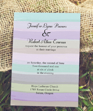 mint and lavender pastel colors wedding invitations
