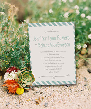 mint green striped beach wedding invitations for summer 2014