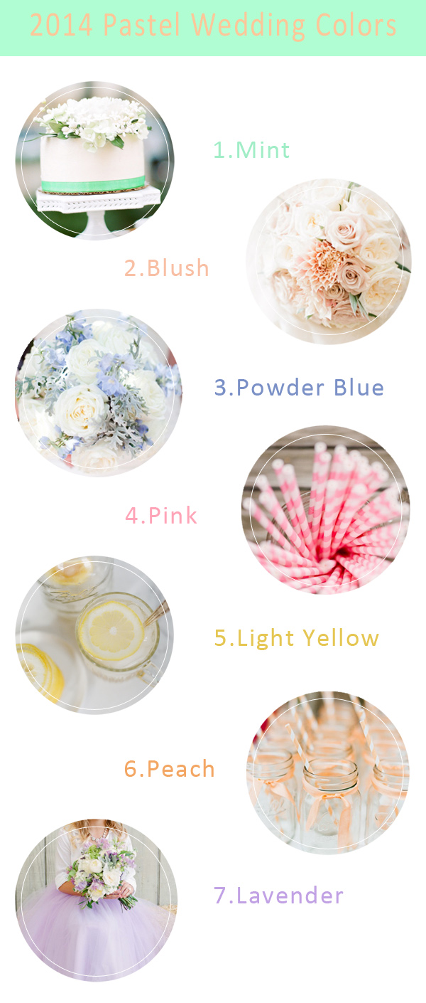 pastel wedding color ideas 2014 trends