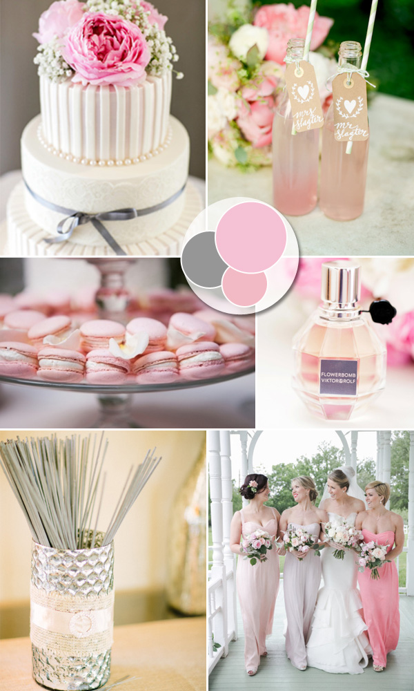 pink and gray inspired pastel wedding color ideas