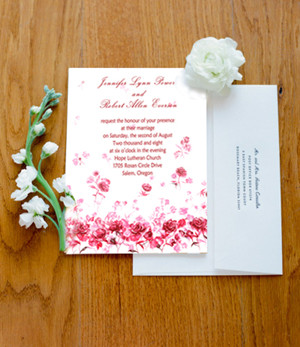 pink roses wedding invitations for country weddings 2014