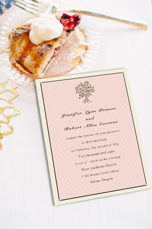polka dot blush pastel wedding invitations
