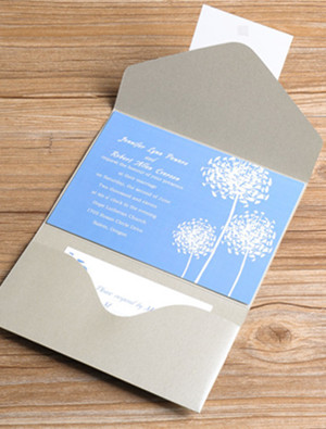 powder blue and gray pastel pocket wedding invitations