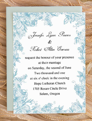 powder blue lace printed vintage pastel wedding invitation cards