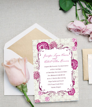 romantic pink rose wedding invitation cards 2014