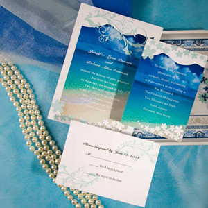 seaside blue beach wedding invitations for summer 2014
