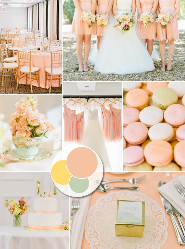soft sweet peach and champagne pastel wedding color ideas