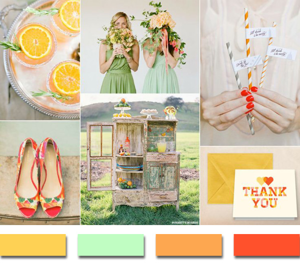 2014 trending yellow mint and orange summer wedding color ideas