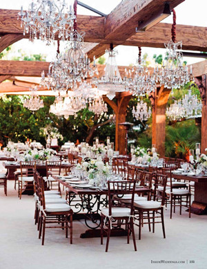country rustic wedding reception ideas with vintage Chandelier decorations