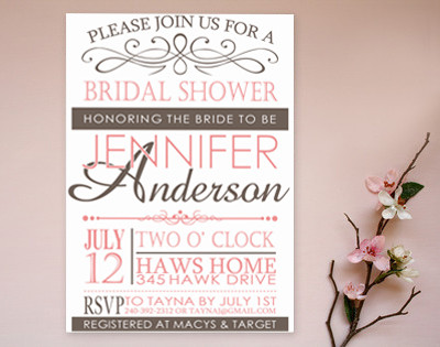 Elegant And Simple Pink Bridal Shower Invitations Gray 2014