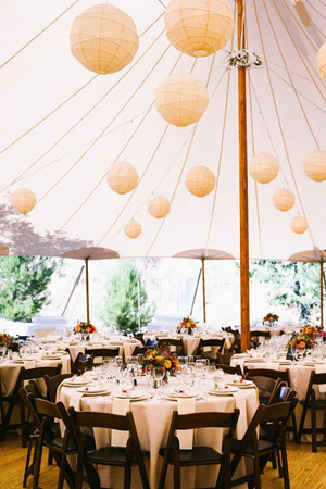 hanging  paper lanterns for tented wedding reception ideas 2014
