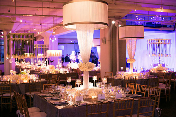 lamp inspired centerpiece for purple wedding reception ideas 2014