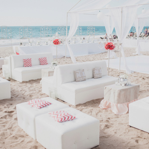 reception seats ideas for white and red beach wedding summer 2014