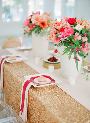 red and gold wedding reception ideas with hint of sparkle 2014