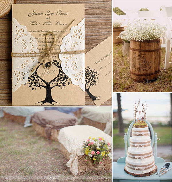 2017 Trending Country Rustic Lace And Burlap Wedding Ideas Invitations